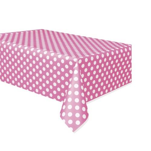 Pink polka dot tablecover
