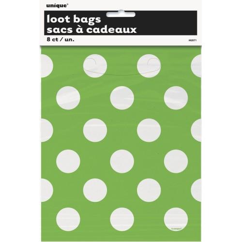 Lime green polka dot  loot bags