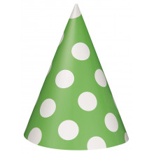 Lime green polka party hats