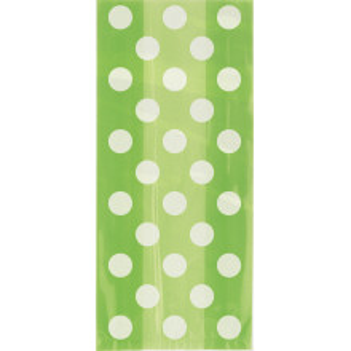 Lime green polka dot cellophane bags