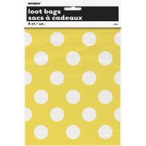 Yellow polka dot  loot bags