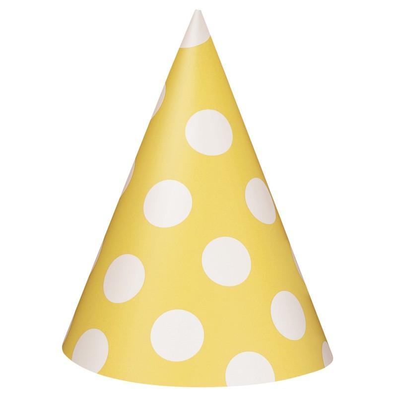 Yellow polka party hats
