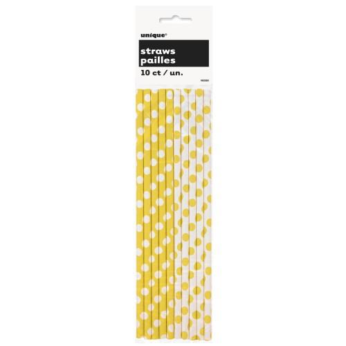 Yellow polka dot straws