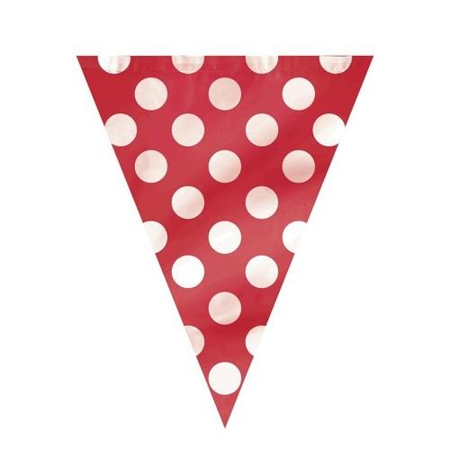 Red polka dot flag banner