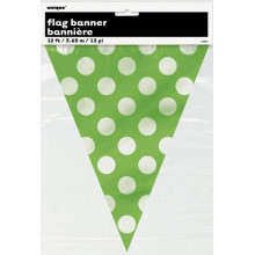 Lime green polka dot flag banner