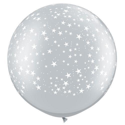 Silver giant balloon - stars