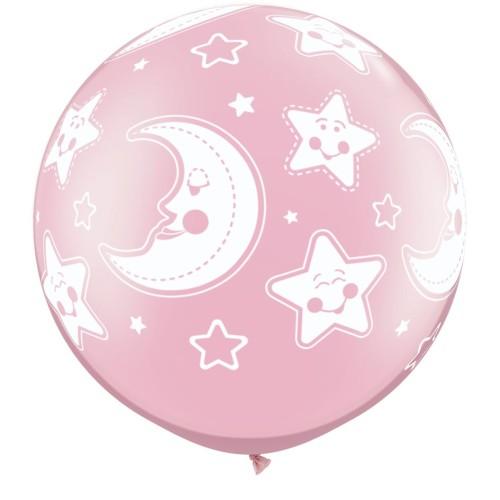 Perl pink veliki tiskani balon - zvezdice in luna