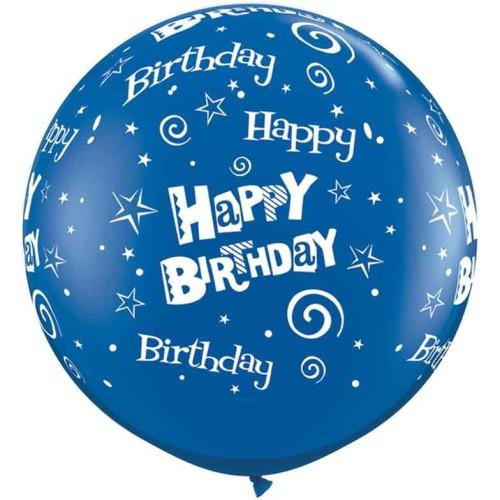 Sapphire blue giant balloon - Birthday Stars & Swirls