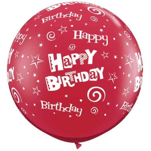 Rdeč veliki tiskani balon - Birthday Stars & Swirls