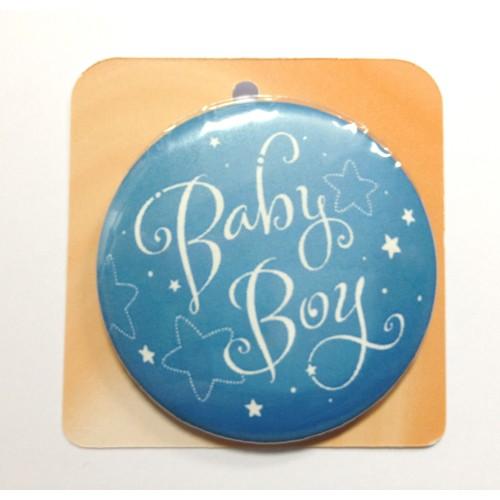 Light blue button badge - Baby Boy
