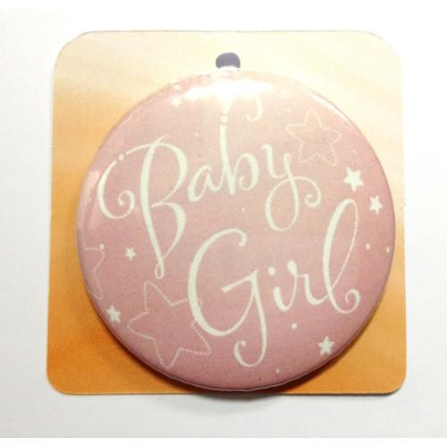 Hellrosa button Anstecker Brosche - Baby Girl