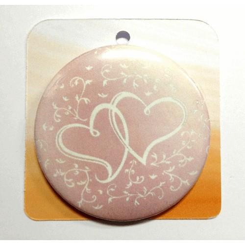 Button Anstecker Brosche - Doppeltes Herz