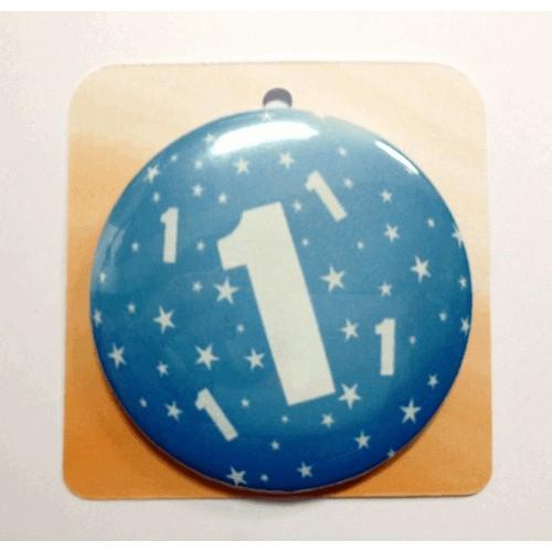 Blau button Anstecker Brosche mit Nummer 1