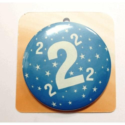 Blaue Button Anstecker Brosche mit Nummer 2