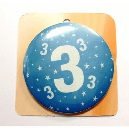 Blaue Button Anstecker Brosche mit Nummer 3
