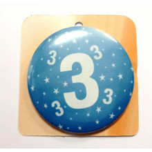 Blue button badge - Number 3