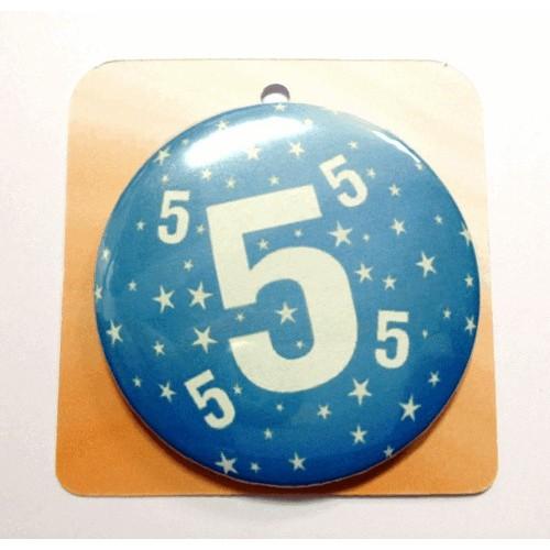 Blaue Button Anstecker Brosche mit Nummer 5