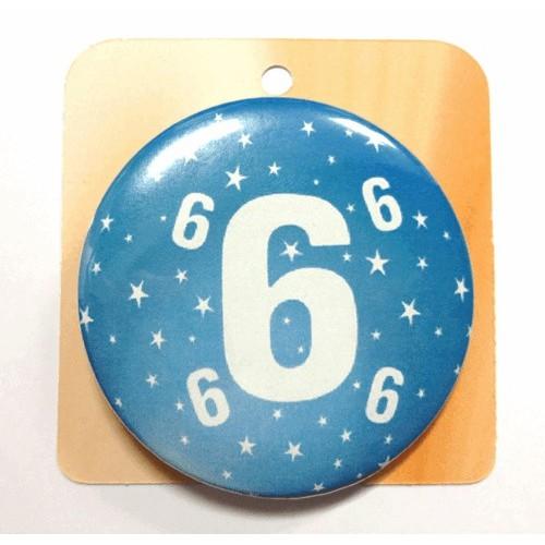 Blaue Button Anstecker Brosche mit Nummer 6