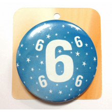 Blue button badge - Number 6