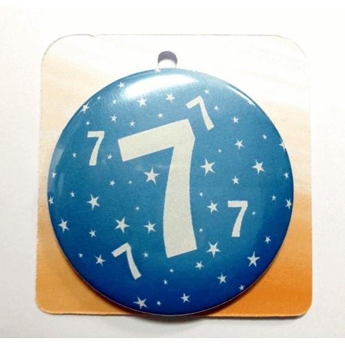 Blaue Button Anstecker Brosche mit Nummer 7