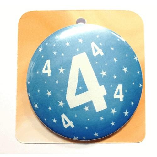 Blaue Button Anstecker Brosche mit Nummer 4