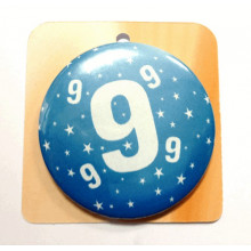 Blaue Button Anstecker Brosche mit Nummer 9