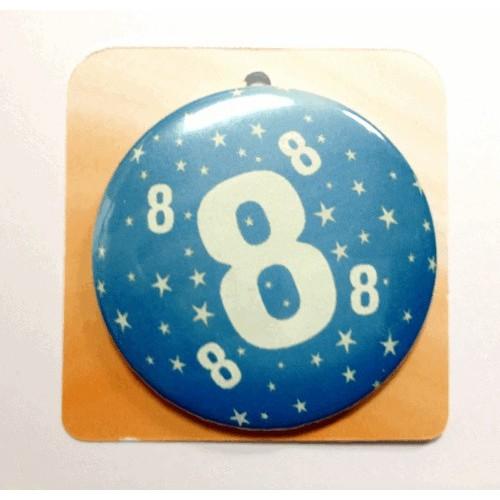 Blaue Button Anstecker Brosche mit Nummer 8