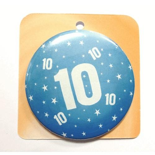 Blaue Button Anstecker Brosche mit Nummer 10