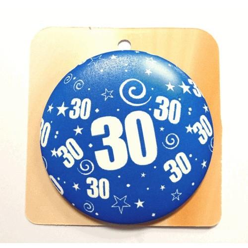 Blaue Button Anstecker Brosche mit Nummer 30