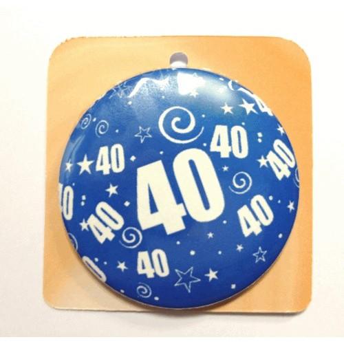 Blaue Button Anstecker Brosche mit Nummer 40