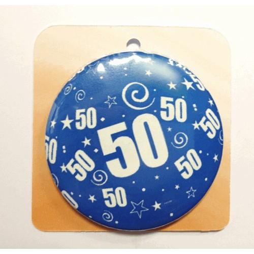 Blaue Button Anstecker Brosche mit Nummer 50