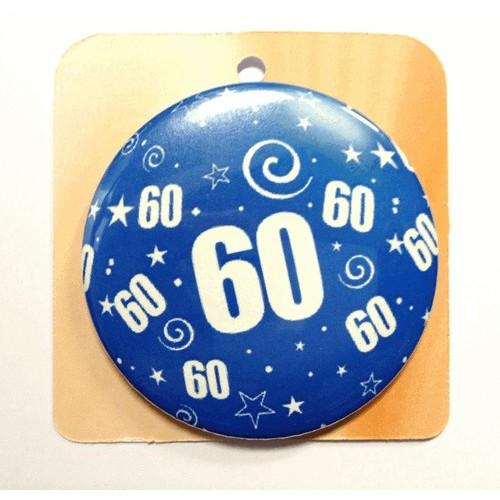 Blaue Button Anstecker Brosche mit Nummer 60