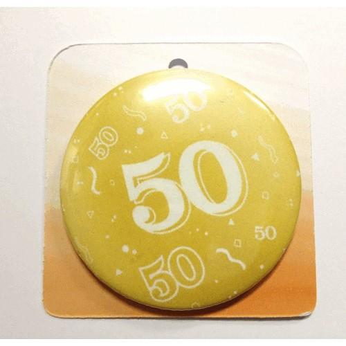 Goldene Button Anstecker Brosche mit Nummer 50