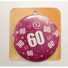 Rose button badge - Number 60