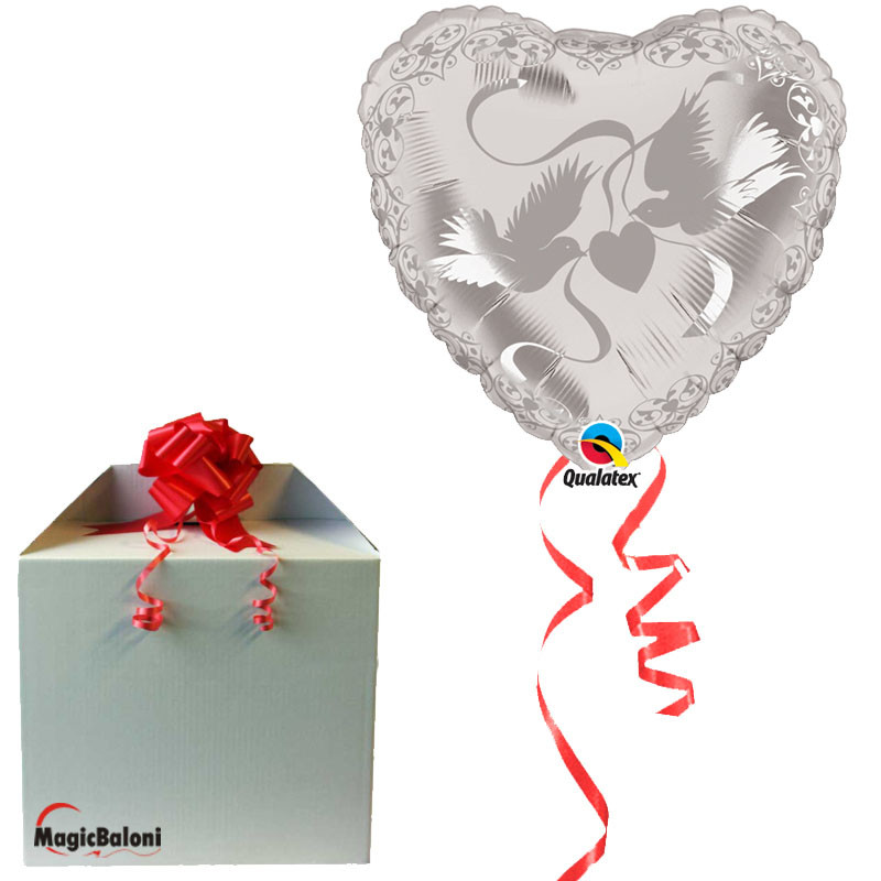 Crystal Doves Heart Silver - folija balon v paketu