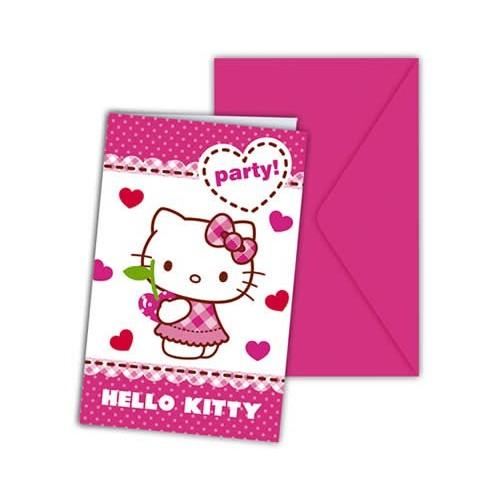 Hello Kitty hearts invitations
