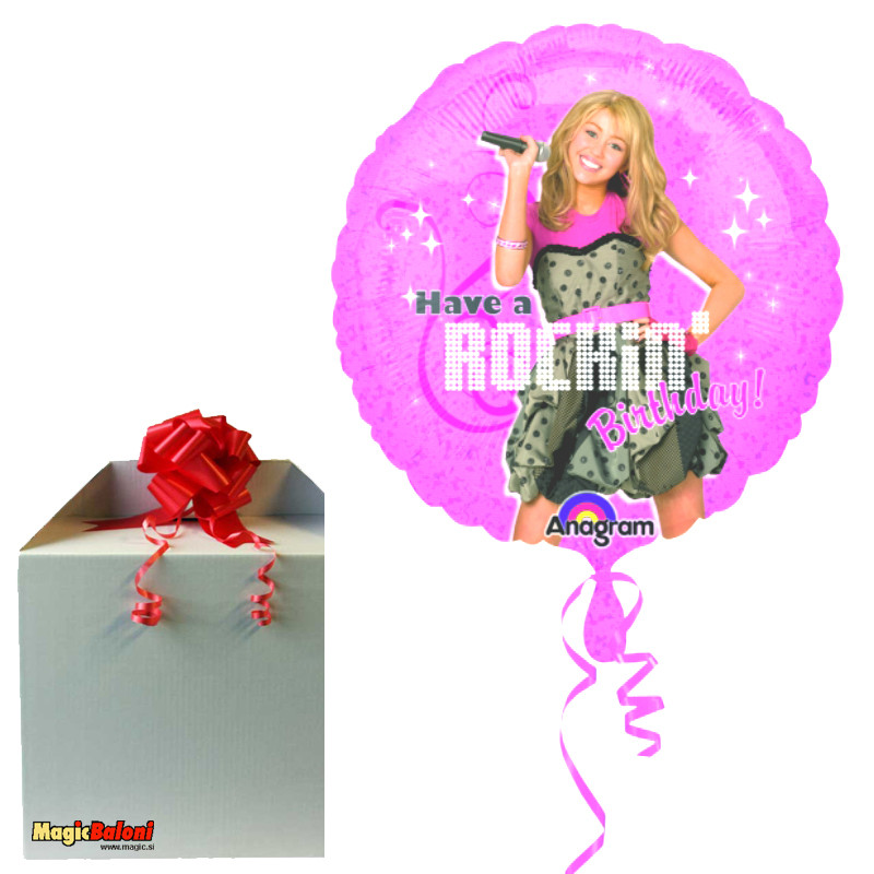 Hannah Montana Rocking Happy Birthday balon - napihnjeni
