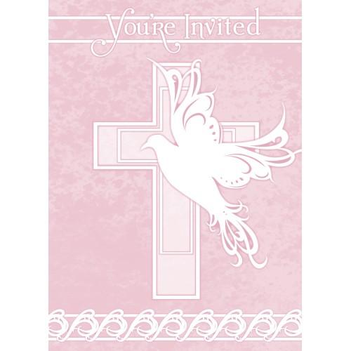 Dove Cross Invitations - pink