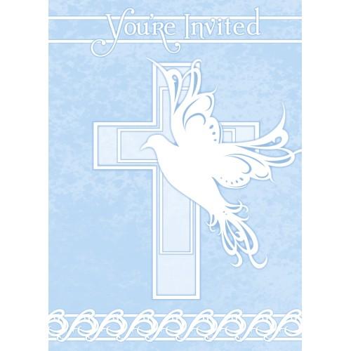 Dove Cross Invitations - blue