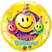 Birthday Smiley Faces - folija balon 45 cm
