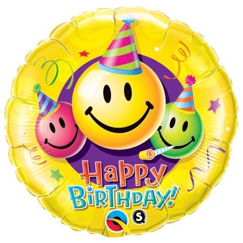 Birthday Smiley Faces - folija balon