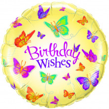 Birthday Wishes Butterflies - folija balon
