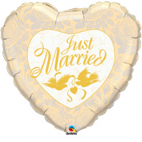 Just Married Ivory & Gold - folija balon