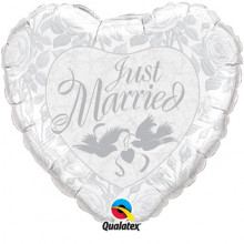 Just Married Pearl White & Silver - folija balon