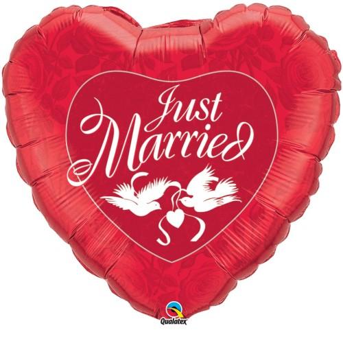 Just Married Red & White - folija balon