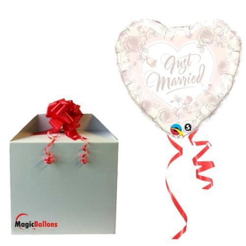 Just Married Roses folija balon v paketu