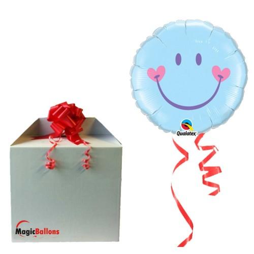 Sweet Smile Face Pale Blue - Folienballon in Paket