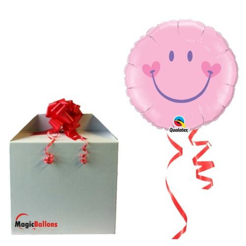 Sweet Smile Face Pink - Folienballon in Paket
