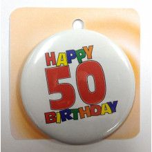 Happy Birthday button badge - Number 50