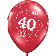 Printed balloons - number 40 Ruby Red